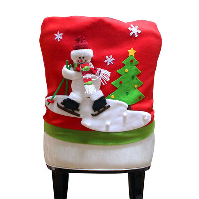 Xmas Dinner Table Party Chair Covers Snowman Elk Christmas Household Decorations