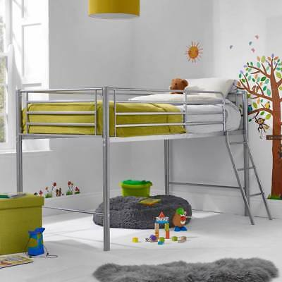Candice Children's Silver Metal Mid Sleeper Cabin Bed With Ladder