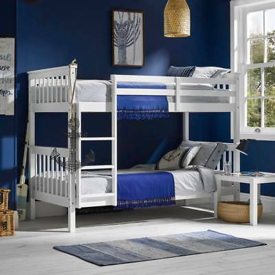 Leo White Solid Wooden Shaker Style Kids Bunk Bed Splits Into 2 Singles