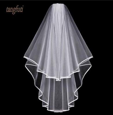 Wedding Veil White Ivory Ribbon Edge Comb Two Layer Bridal Veils Elbow Lenght
