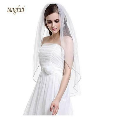 Wedding Veil White Ivory Beaded Edge Comb One Layer Bridal Veils Elbow Length