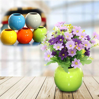 Mini Vase Round Ball Ceramic Pottery Flower Pot Office Garden Decoration Planter
