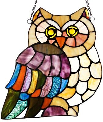 Owl Stained Glass Window Panel Tiffany Style Sun Catcher w/Hanging Chain & Hooks