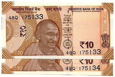 INDIA 10 Rupees 2018 P NEW Letter R x 2 Consecutive UNC Banknotes