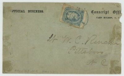 Mr Fancy Cancel CSA 11 COVER OFF BUS CONSCRIPT OFFICE CAMP HOLMES NC RALEIGH CDS