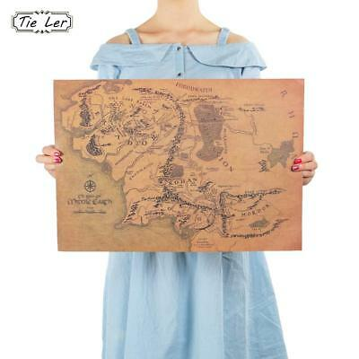 Wall Sticker Vintage Middle Earth Map On The Lord of The Rings Poster Home Decor