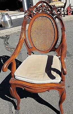 Antique Pierced Mahogany Cane seat Chair Circa 1920-50's  WE SHIP!
