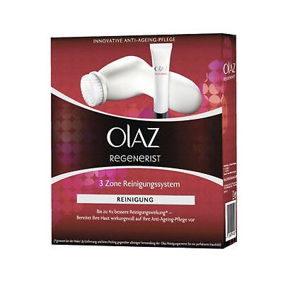 Olay (Olaz) Regenerist 3 Point Cleansing System Kit Exfoliating Face Wash&Brush