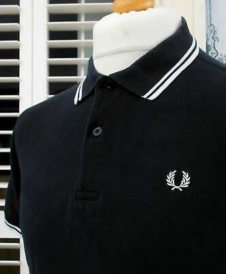 Fred Perry M1200 Black Twin Tipped Pique Polo - M/L - Ska Mod Scooter Casuals