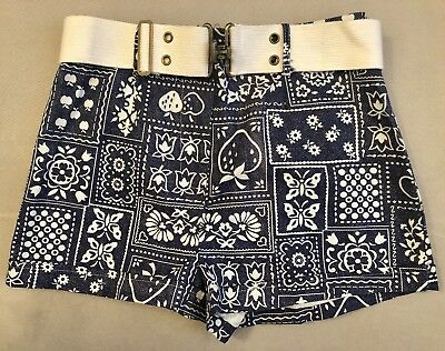 """Vintage 1960s Belted Printed Floral Hot Shorts w Original Tags XS / Small 27"""""""