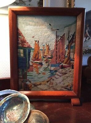 Vintage hand embroidered woolwork nautical picture Art Deco oak freestanding 40s