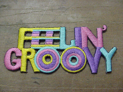 """Vintage lot OF 4 FEELIN' GROOVY  Embroidery Iron On/sew on Patch  3.75"""" X 1.5"""""""