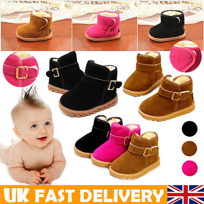 Kids Boy Girls Winter Snow Fur Boots Toddler Infant Baby Warm Shoes Size 4.5-7.5