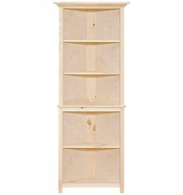 Amish Unfinished Solid Pine Small Open Corner Hutch Bookcase Shelf Rustic