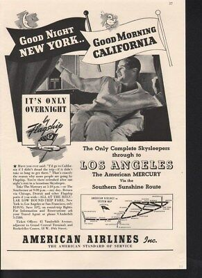 1938 American Airlines Plane Fly Travel Overnight Ad-14738