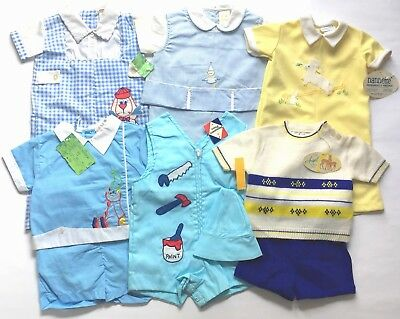 Vintage 60's Baby Boy Clothing 6 Outfits Romper Sun Suit Short NOS Tags Attached