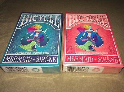 Limited Edition Bicycle Playing Cards. Mermaid Design. Red and Blue Decks