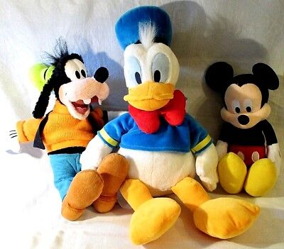 3 x GENUINE OFFICIAL DISNEY SOFT TOYS MICKEY MOUSE GOOFY DONALD DUCK BUNDLE VGC
