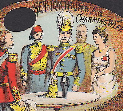 PT Barnum Circus 1870's General Tom Thumb Little Wife Dwarf old Advertising Card