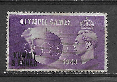 KUWAIT , GREAT BRITAIN , 1948 , OLYMPICS , 3a STAMP  PERF , USED