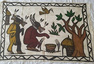 """Authentic African Handwoven  Pictured Mud Cloth From Mali Size 58"""" x 38"""""""