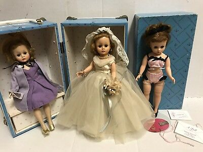 vintage madame alexander Cissette doll Set Of 3 With Case And Box