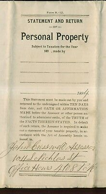 1894 Pennsylvania Personal Property Statement and Return Document