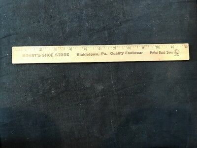 Vintage Advertising Wooden Ruler Mother Goose Shoes, Hinkletown, Pa.