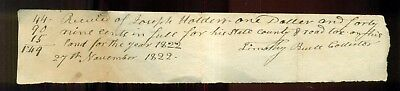 1822 Washington County,OH - State,County & Road Tax Receipt
