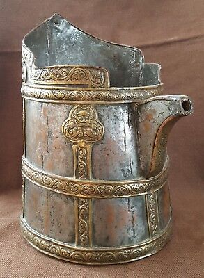 A Good Large Rare 19Th Century Tibetan Mixed Metal Chang Container