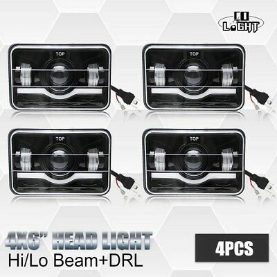 "4x 4X6"" CREE LED Headlight Hi/Lo DRL Clear Sealed Beam Projector HID for H4651"