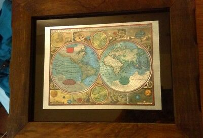 A New And Accvrat Map Of The World, Foiled World Map, Framed