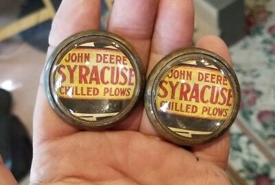 54-10 Pair VINTAGE glass dome rosettes JOHN DEERE SYRACUSE CHILLED PLOWS