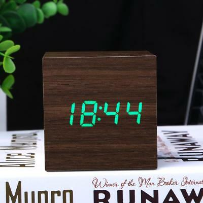 USB LED Sound Control Wood ​Alarm Clock Thermometer Timer Calendar Display Clock