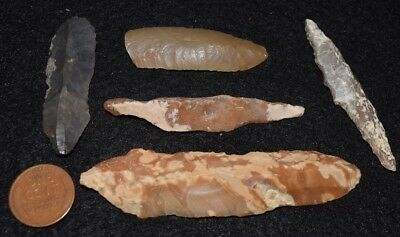 5  Mesolithic stone tools, most unifacial