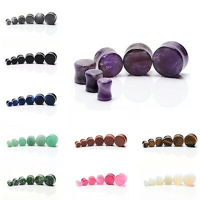 Stone Ear Plugs Tunnels Semi Precious Gemstone Stretcher Saddle Taper