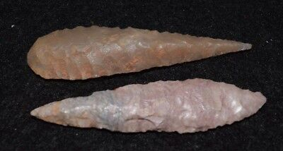 2 nicer, bigger Sahara Neolithic ovate points/blades (2 7/16th inches each)