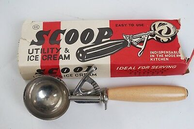 wood handle ice cream scoop, disher, with box (Box is torn)  maybe antique?