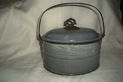 "VTG Oval Graniteware  Gray BUTTER Pail/Bucket  7 1/4 x 9 1/2 x 5"" -  LUNCH PAIL"