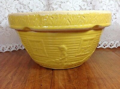 "Vintage Ransbottom RRP Yellow Mixing Bowl Watering Can Girl 10"" 1940s"