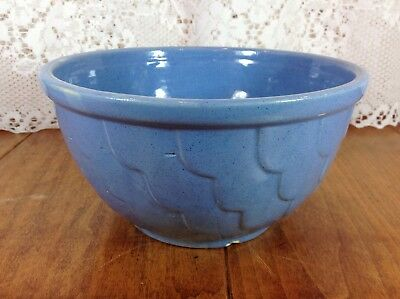 """RRP Ransbottom Mixing Bowl Blue Scallop Pattern 8"""" Vintage 1940s"""