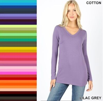 Womens T Shirt V Neck Long Sleeve Zenana Cotton Stretch Top S/M/L/XL
