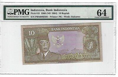 P-83 1960 10  Rupiah, Bank of Indonesia, PMG 64  Nice!