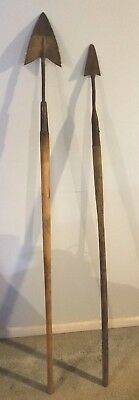 "Rare Antique Old American Forged Fighting Metal Spear Pair 64"" & 61"" length"