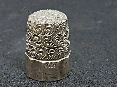 Early Simon Bros. Sterling Silver Flat 10 Panel wave/swirl Thimble c. Late 1800s