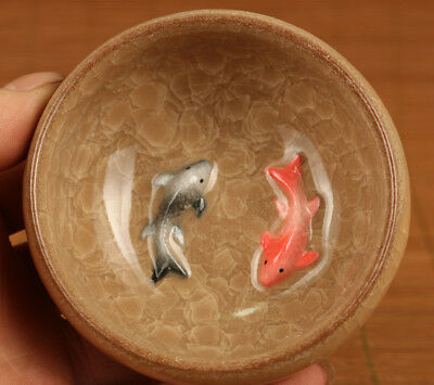Fine Porcelain Hand Carving Fish Collect Kungfu Tea kungfu Cup Bowl glass