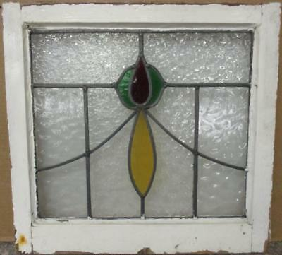 "OLD ENGLISH LEADED STAINED GLASS WINDOW Abstract Floral Sweep 20.5"" x 19.5"""