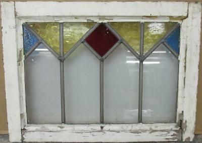 """OLD ENGLISH LEADED STAINED GLASS WINDOW Nice Geometric Band 21"""" x 15.5"""""""