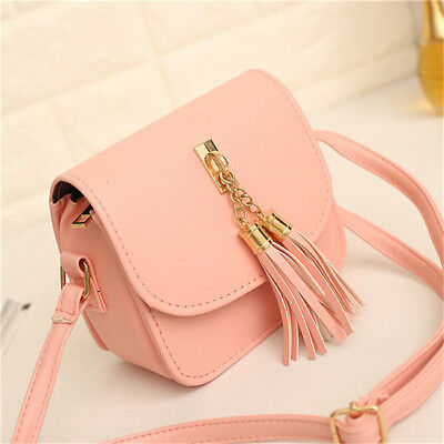 Women Tassel Decorated Pu Leather Mini Small Handbag Shoulder Bag Purse B