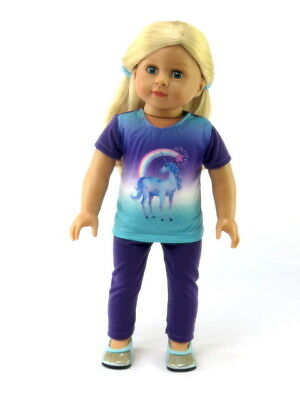 "Purple Unicorn Pant Set Fits 18"" American Girl Doll Clothes"